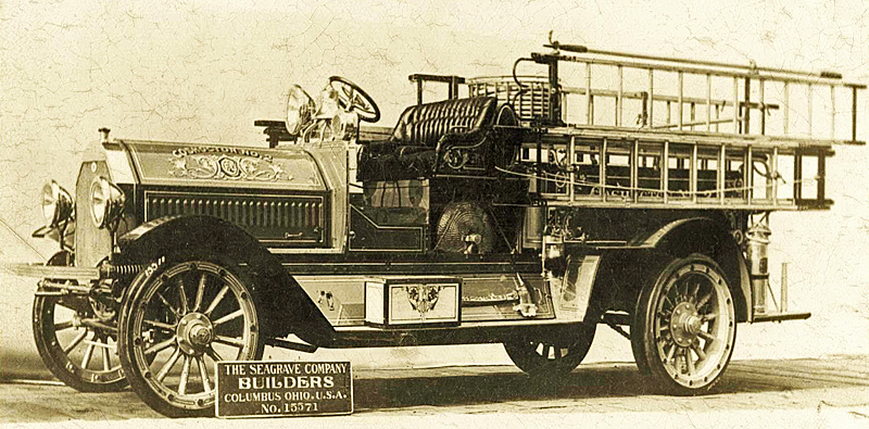 Factory photo of a 1916 Seagrave chemical fire engine.