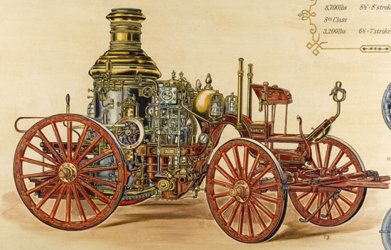 Oil painting of Ahrens steam fire engine showing lots of decoration.