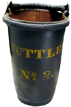 Early fire bucket No 2 belonging to the Tuttle family