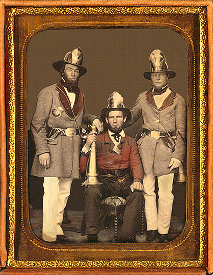 Tinted photo of members of the Charleston Phoenix Engine Co.