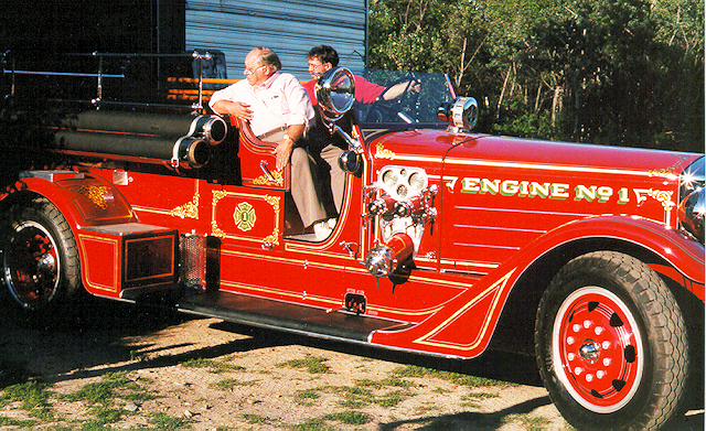 John Peckham and Andy Swift backing up an American Lafrance senior 400 fire engine