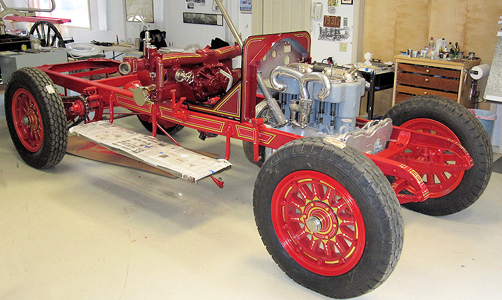 American LaFrance fire engine frame, pump and motor.