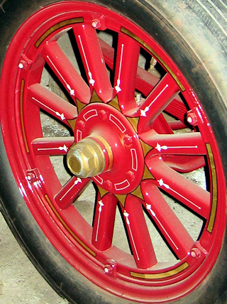 Wheel on a 1922 Brockway fire engine.