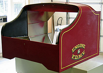 seat section of 1936 Ahrens-Fox fire engine.