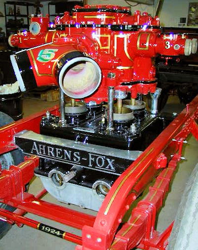 1924 Ahrens-Fox piston pump with stripes complete, ready for reassembly.