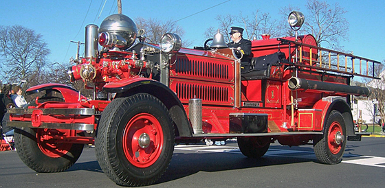 Restored 1927 Ahrens-Fox fire engine in a Bristol PA parade