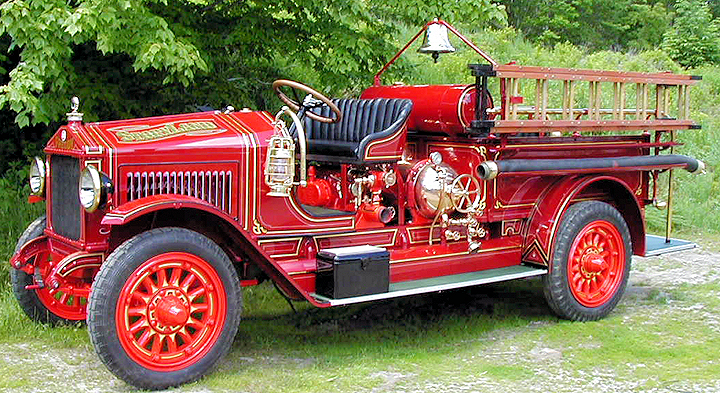 Restored 1923 Maxim fire engine by Firefly Restoration.