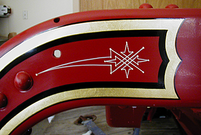 Frame end ornament on a 1926 Maxim fire engine