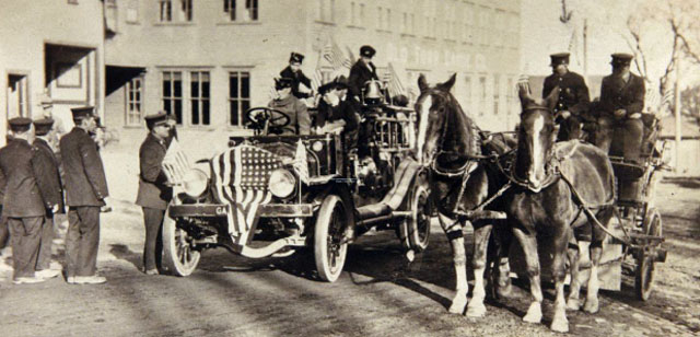 Old photo of Bangor Maine Garford fire engine.