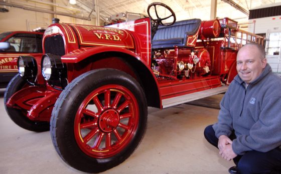 Restored 1922 Brockway engine in Mebane firehouse.