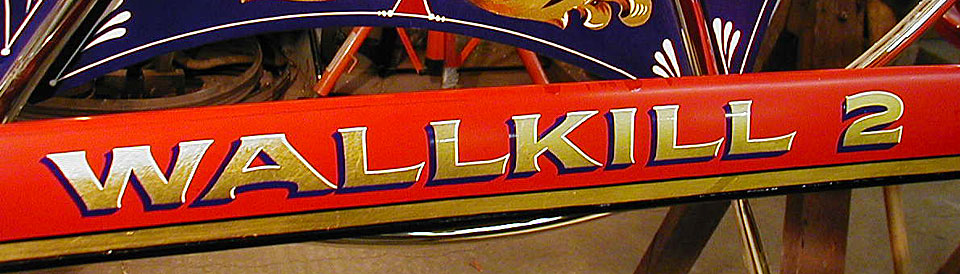 Lettering on Wallkill NY 1880s Silsby hose carriage restored by Peter Achorn